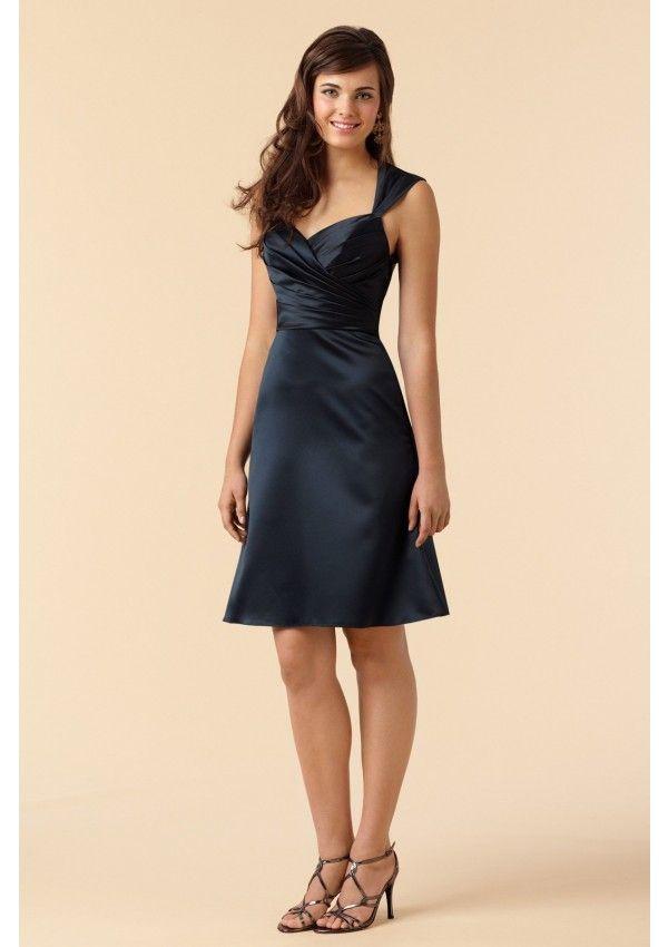 83ef62a42cd5f6 Modest Black Satin Short Bridesmaid Dress. Modest unique design dress