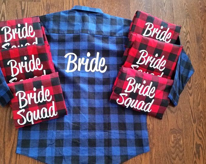 Bridal Plaid Bridesmaid Plaid Western Shirts Wedding Shirts Wedding Prep Wedding Getting Ready Bachelorette Party Shirts wOT8E