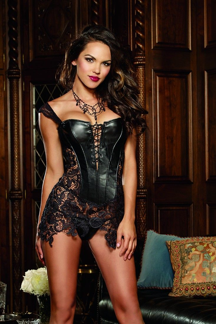 3836fa2a89f Command attention in this faux leather corset with attached black Venice  lace