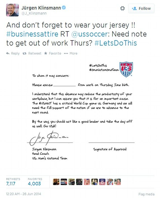 Use this note to watch Team USA\u0027s big World Cup soccer match - absence note