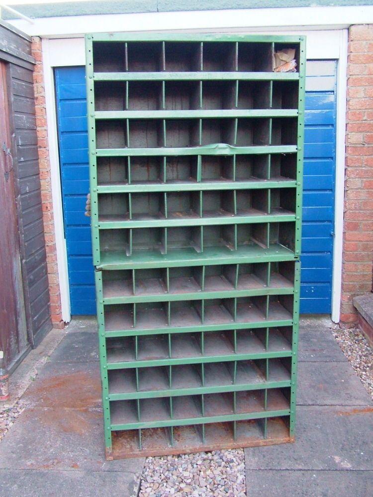 Vintage Industrial Metal Pigeon Hole Cabinet Shop Display Shelving Storage Unit Display Shelves Vintage Industrial Industrial Metal
