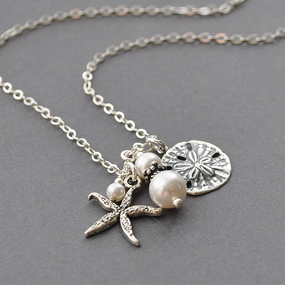 Silver Sand Dollar Necklace White Pearl Necklace