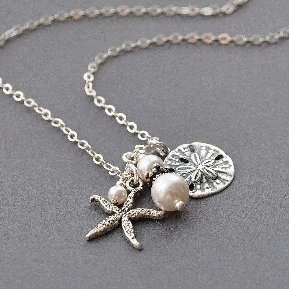 Pearl Pendant Necklace Nautical Jewelry Beach Jewelry Handmade