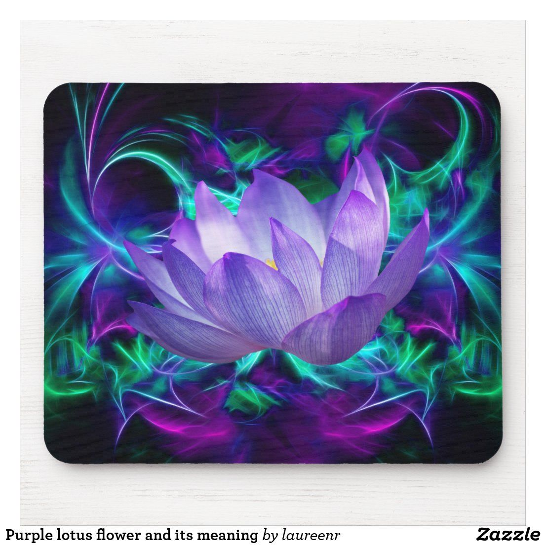 Purple Lotus Flower And Its Meaning Mouse Pad Zazzle Com In 2020 Lotus Artwork Flower Meanings Purple Flowers