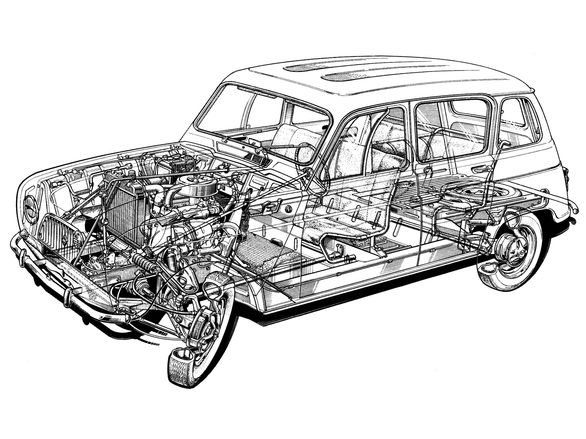 1961-1967 Renault 4 - Illustration unattributed