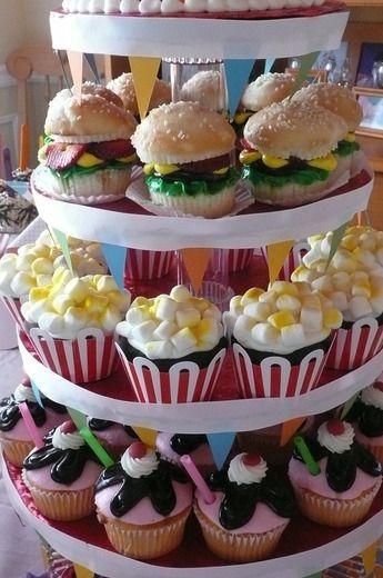 hamburger, popcorn, and sundae cupcakes