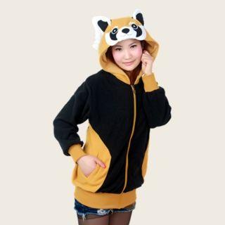 cosplay raccoon sweatshirts with ears creative animal zip up hoodies