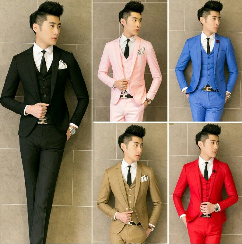 Men\'s Black Pink Blue Brown And Red Wedding Suit Colour Ideas ...