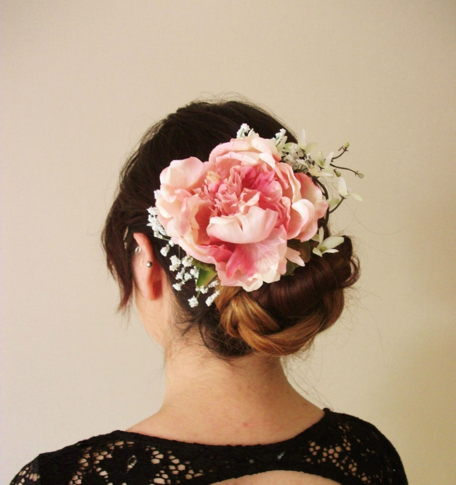 Bridal hair accessories babys breath - Peony Lilac And Baby Breath Floral Hair Clip