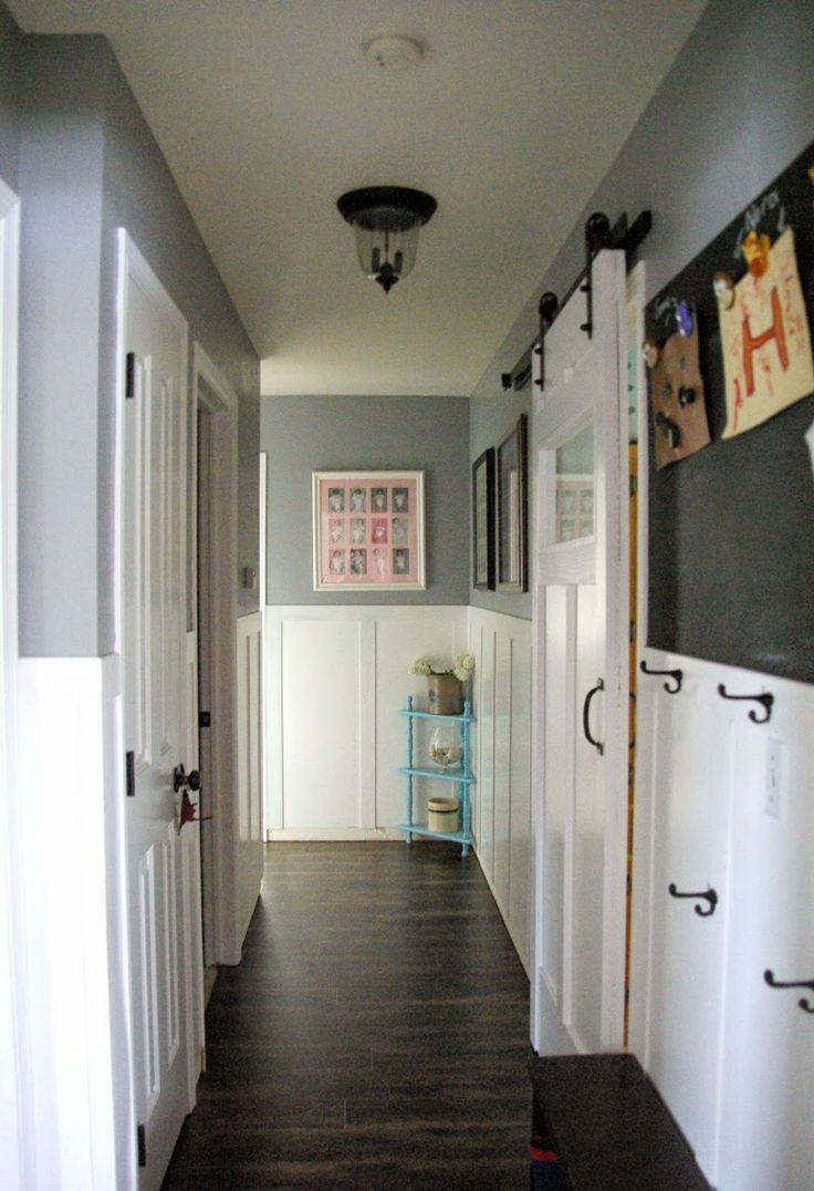 Hallway Hallway With Wainscoting Dark Gray Walls Barn Door