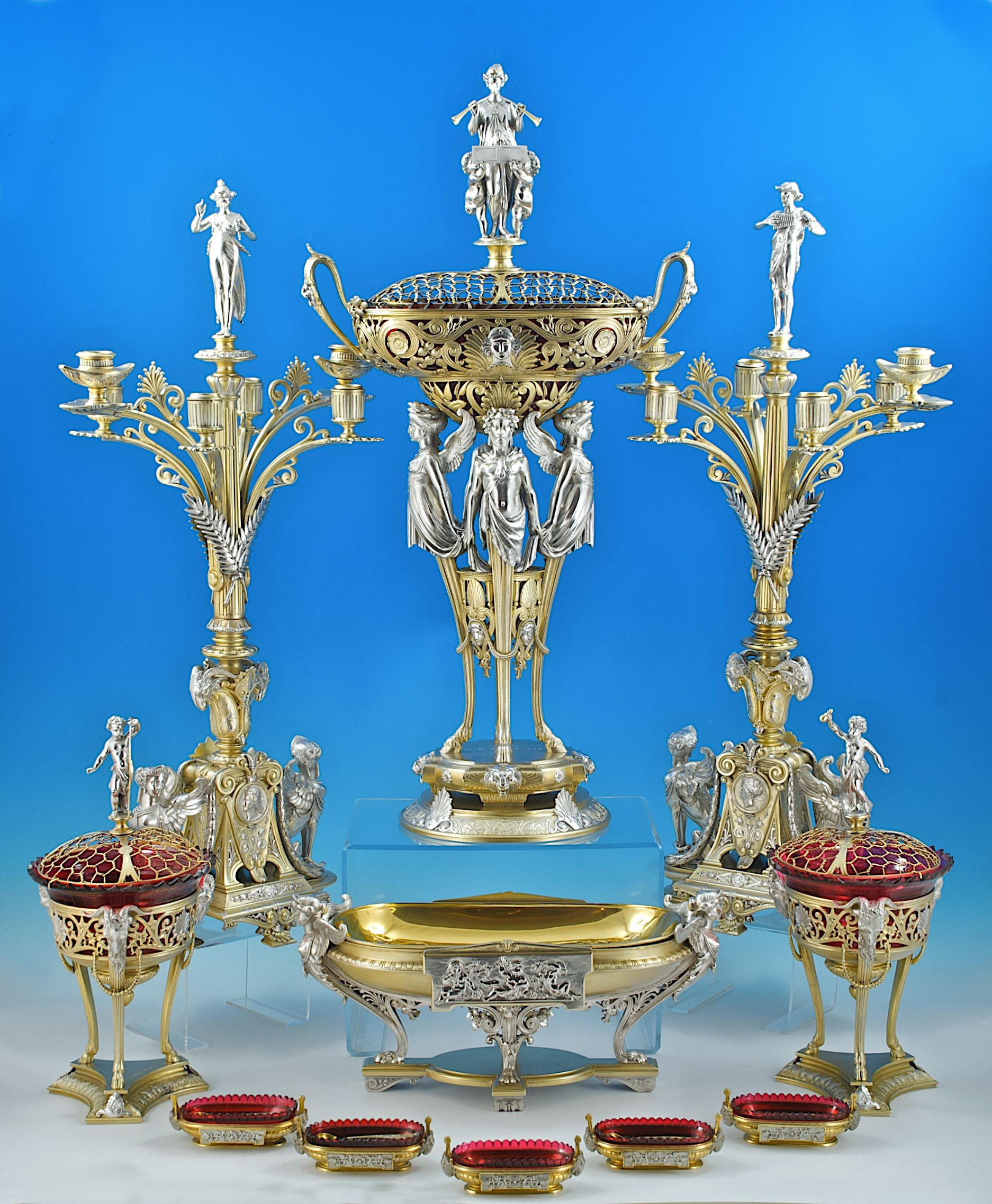 A Six Piece Parcel Gilt Sterling Silver Table Garniture By