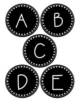 photograph regarding Printable Word Wall Letters named Spherical Black and White Term Wall Labels Clroom Suggestions