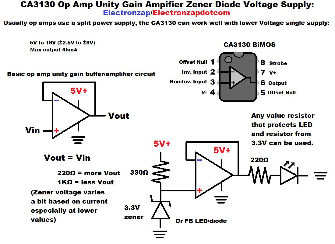 Ca3130 Op Amp Unity Gain Amplifier Zener Diode Voltage Supply Circuit Diagram By Electronzap Electronzapdotcom Buffer Amplifier Diode Circuit