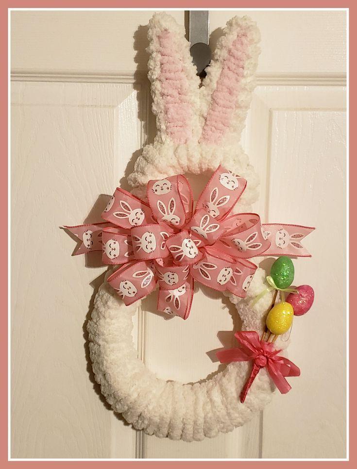 Peter Cotten Tail Bunny Spring Decor Bunny Door Hanger Easter Bunny Wreath