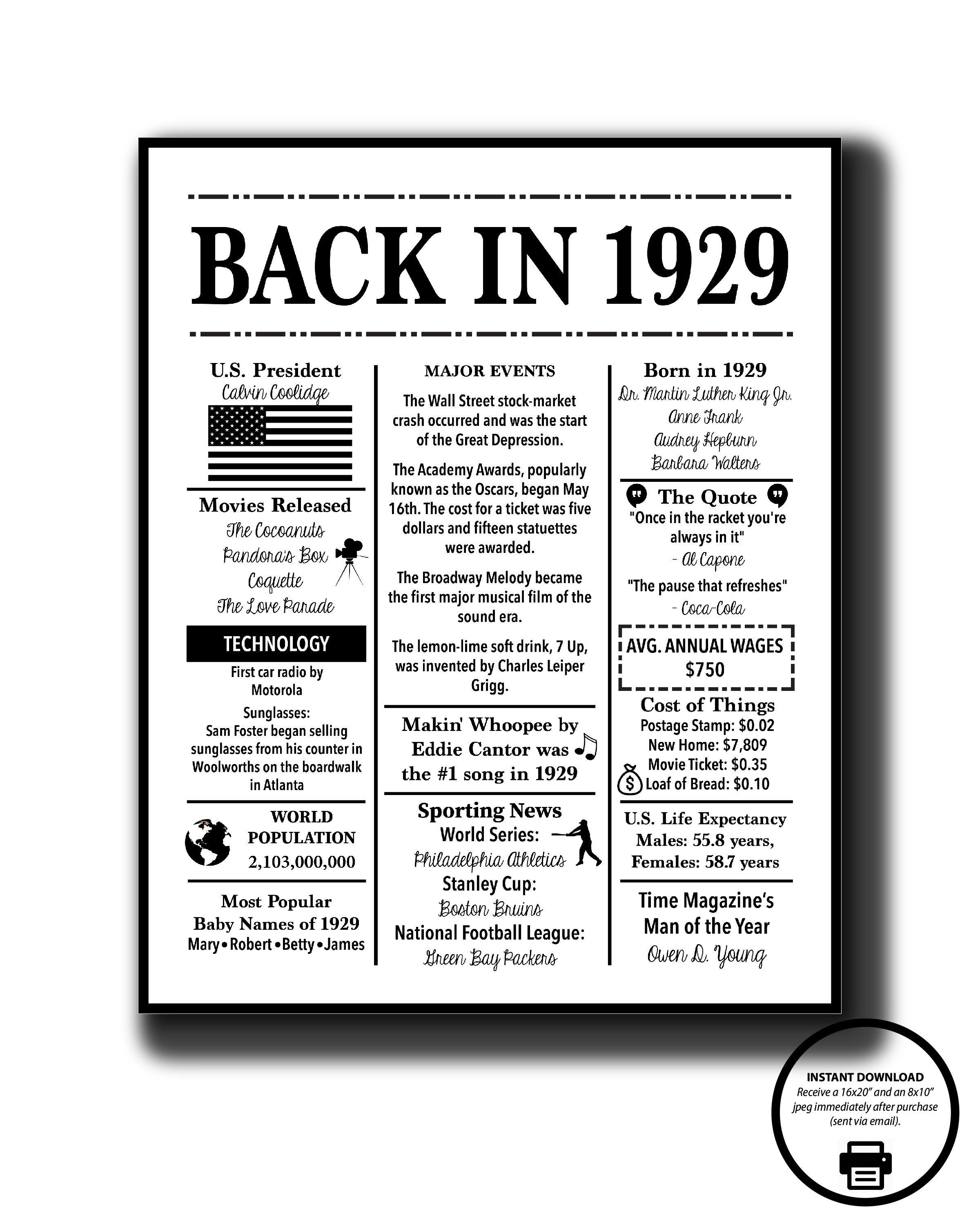 graphic regarding Free Printable Birthday Chronicle named 1929 Again inside 1929 black and white Poster, Birthday 1929