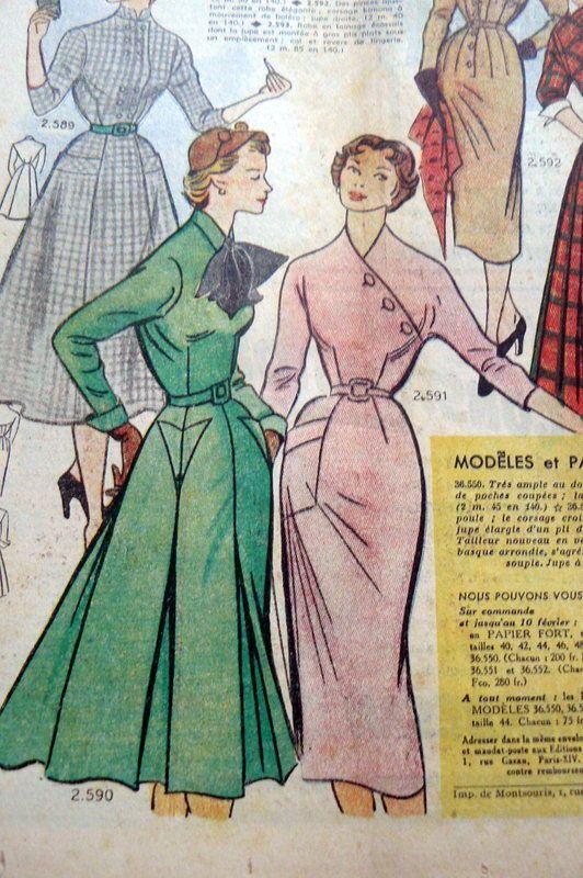 VTG 1950s PARIS FASHION  amp  SEWING PATTERN MAGAZINE LE PETIT ECHO de la  MODE 1952 in Books, Catalogs, Clothing   Fashion   eBay 7c8f08f63bb
