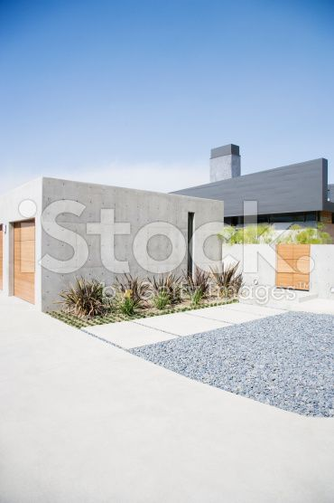 Exterior of modern two-car garage and house royalty-free stock photo