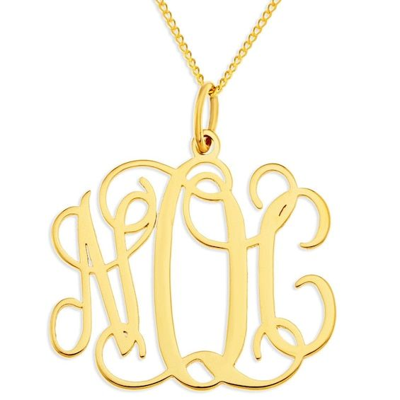 Monogram Pendant In 10k Gold 3 Initials Gold Necklaces Necklaces Piercing Pagoda