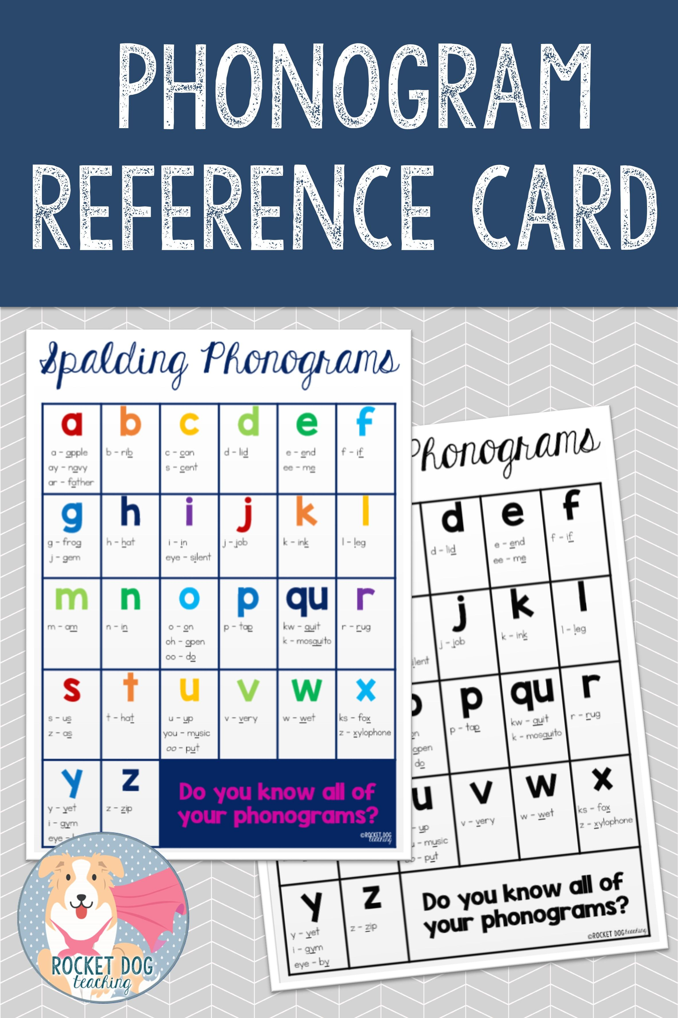 Printable Spalding Phonogram Reference Card In Black And White Or Colour Use In The Classroom Or Send Home Phonograms Reference Cards Spelling Activities [ 3543 x 2362 Pixel ]