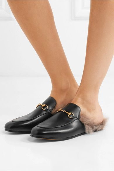 a79e7cceb05 Gucci Princetown Horsebit-detailed Shearling-lined Leather Slippers ...