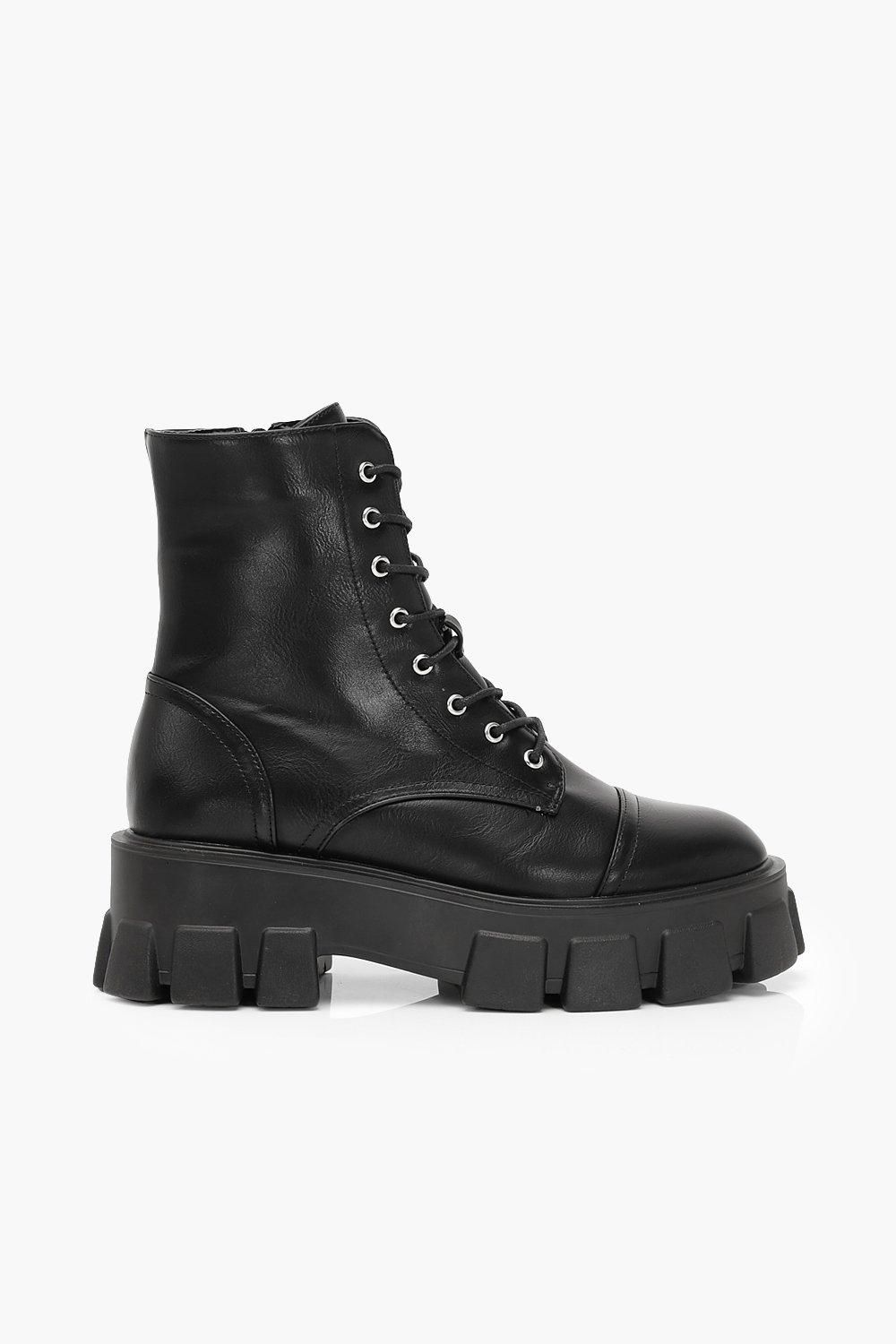 Wide Fit Lace Up Hiker Boots | boohoo