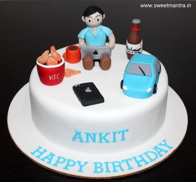 Gadgets Techie theme customized designer fondant cake with 3D guy