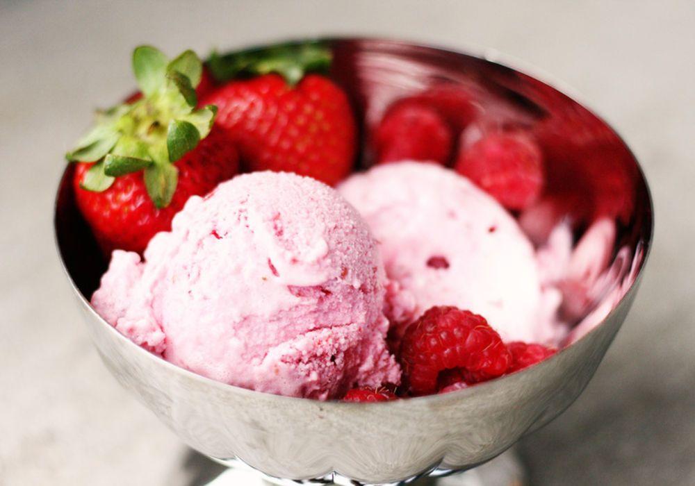 Fresh strawberries and raspberries make a fabulous frozen
