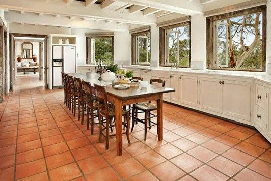 Beau Terracotta Floors White Cabinets