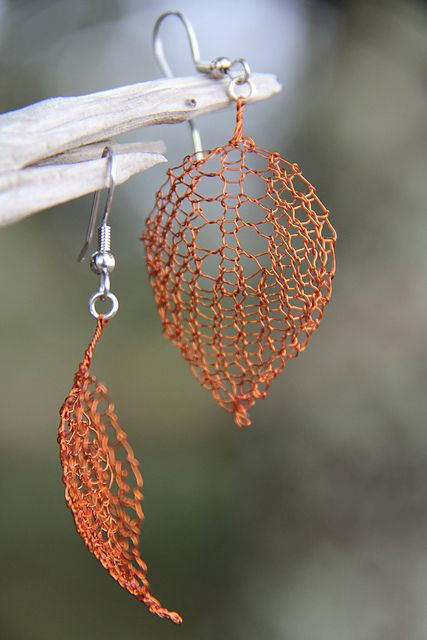 Earrings knit out of copper wire!