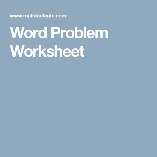 Word Problem Worksheet | Arithmetic | Pinterest | Word problems ...