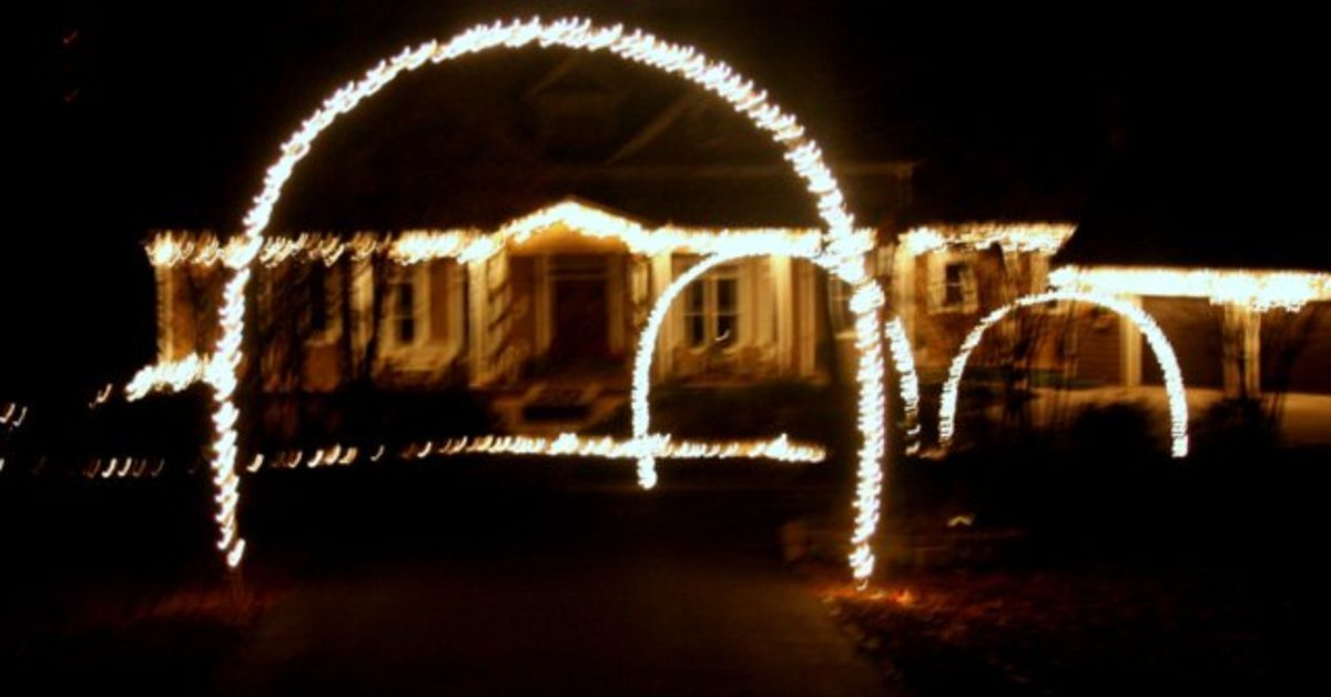This Year We Had Some Fun With Installing Lighted Arches Down Our Driveway Just Pvc Pipe And Strings Of Lights You Can Create Your Own