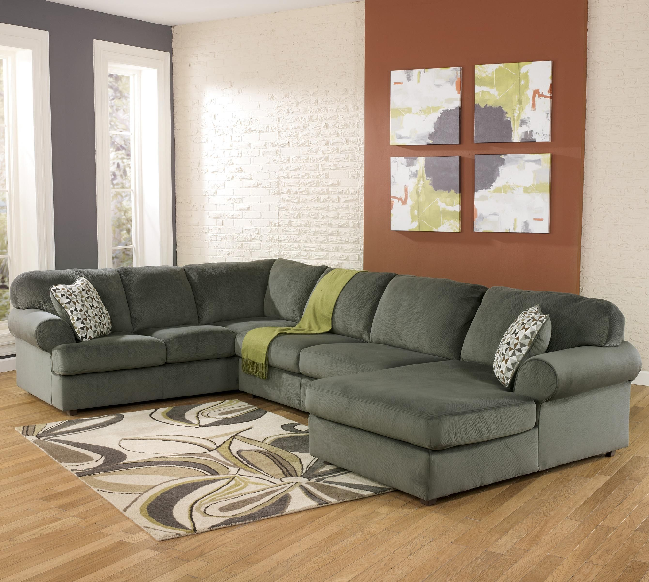 Jessa Place Pewter Casual Sectional Sofa with Right Chaise by