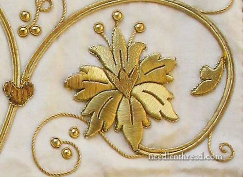 #Goldwork #Inspiration #raised Raised Goldwork Embroidery worked over a card (board) foundation