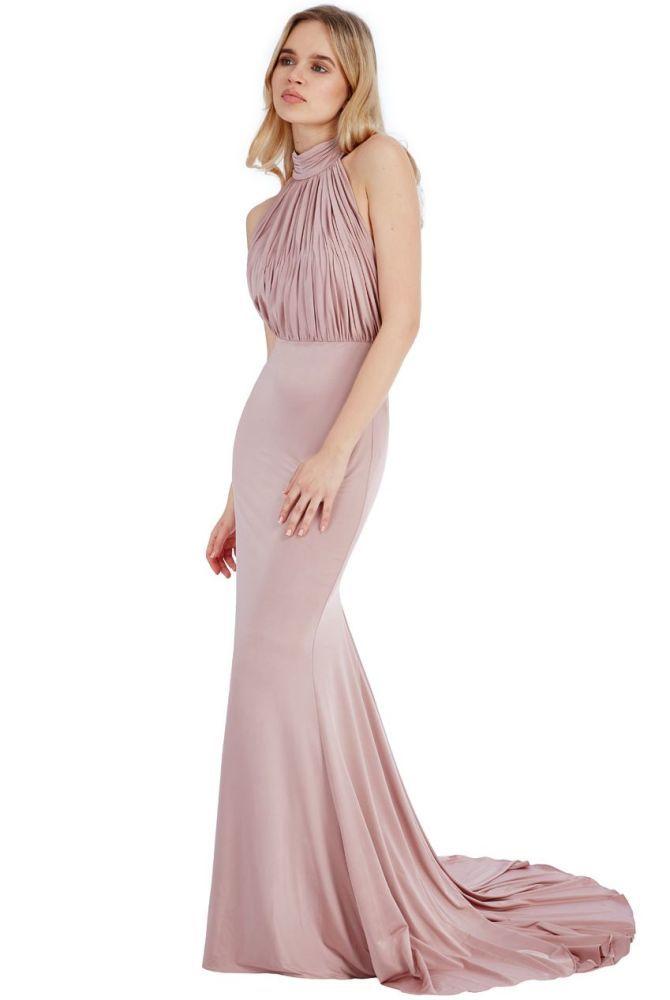 75069dcdf013 Calista Blush Halter Neck Mermaid Maxi Dress | costura | Fishtail ...