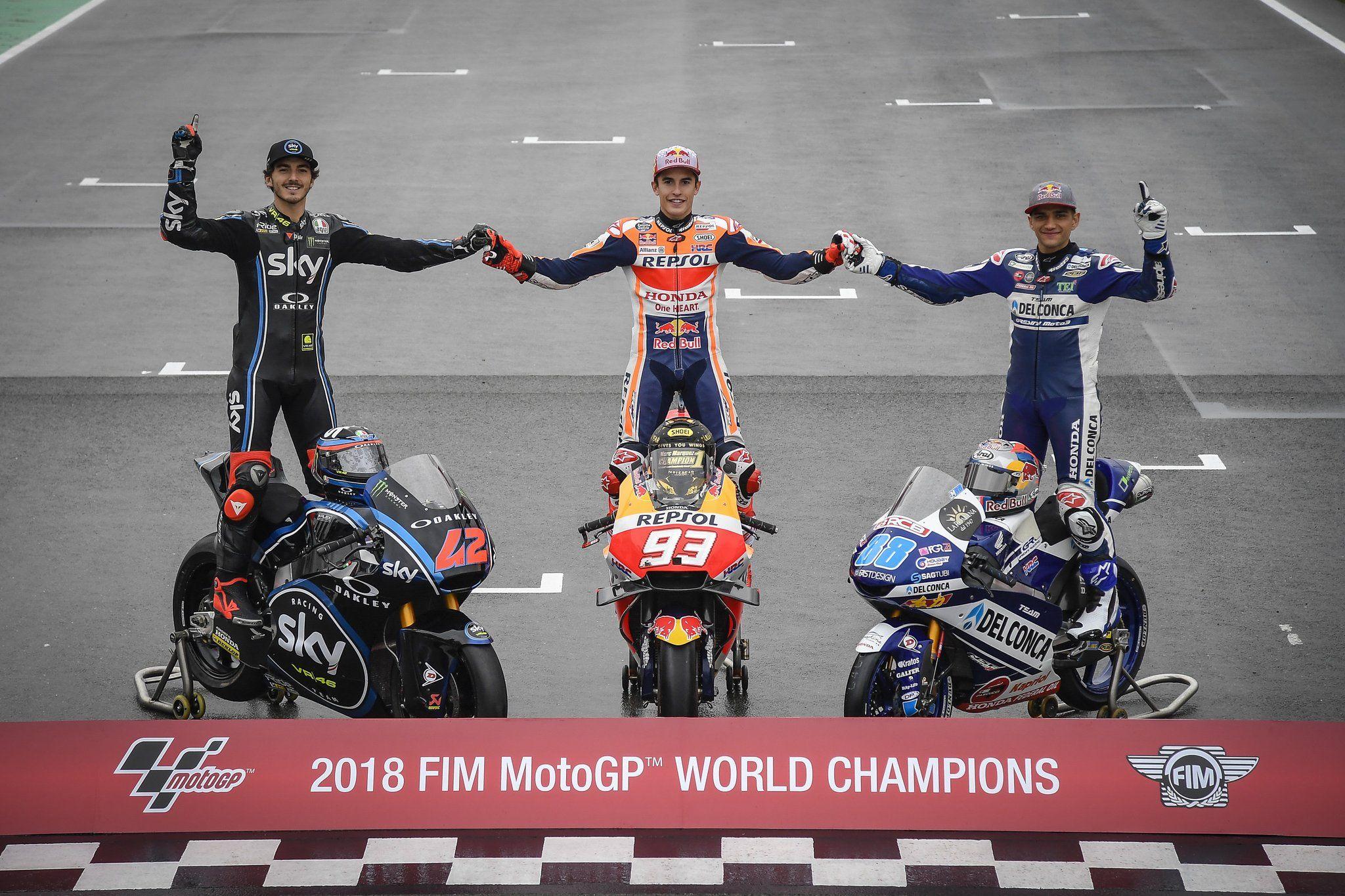 2018 Fim Motogp World Champions Moto3 Moto2 And Motogp Class Pembalap Tsunami