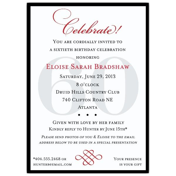 60 birthday party invites Classic 60th Birthday Celebrate Party - sample invitation wording for 60th birthday