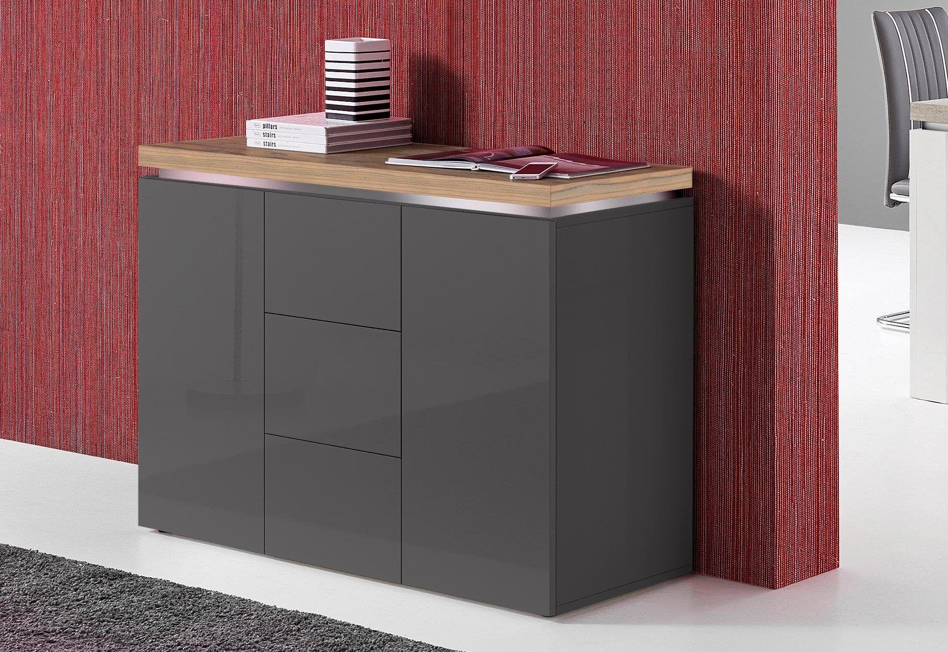 Sideboard Wohnzimmer ~ Tecnos sideboard grau hochglanz fsc zertifiziert jetzt