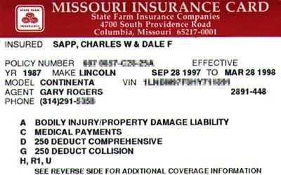 Car Insurance Card: Proof of Being Insured (With images ...