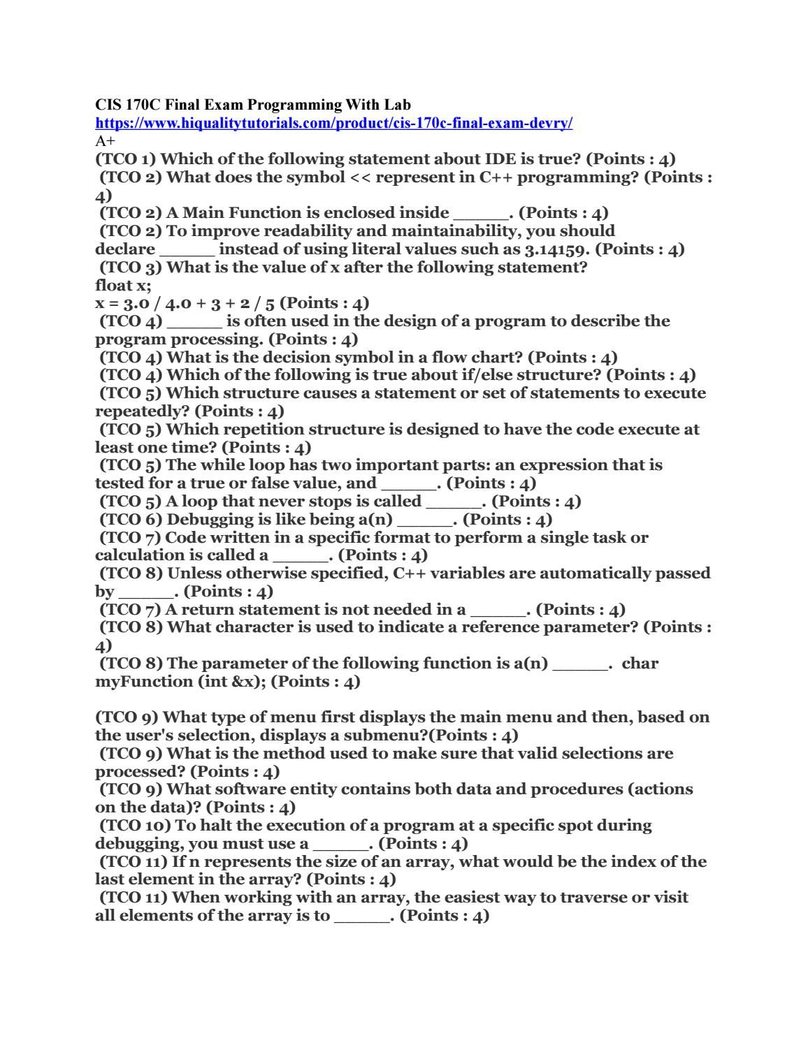 CIS 170C Final Exam Programming With Lab   College Homework