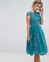 Photo of Chi Chi London premium lace midi dress with cap sleeve in navy | ASOS