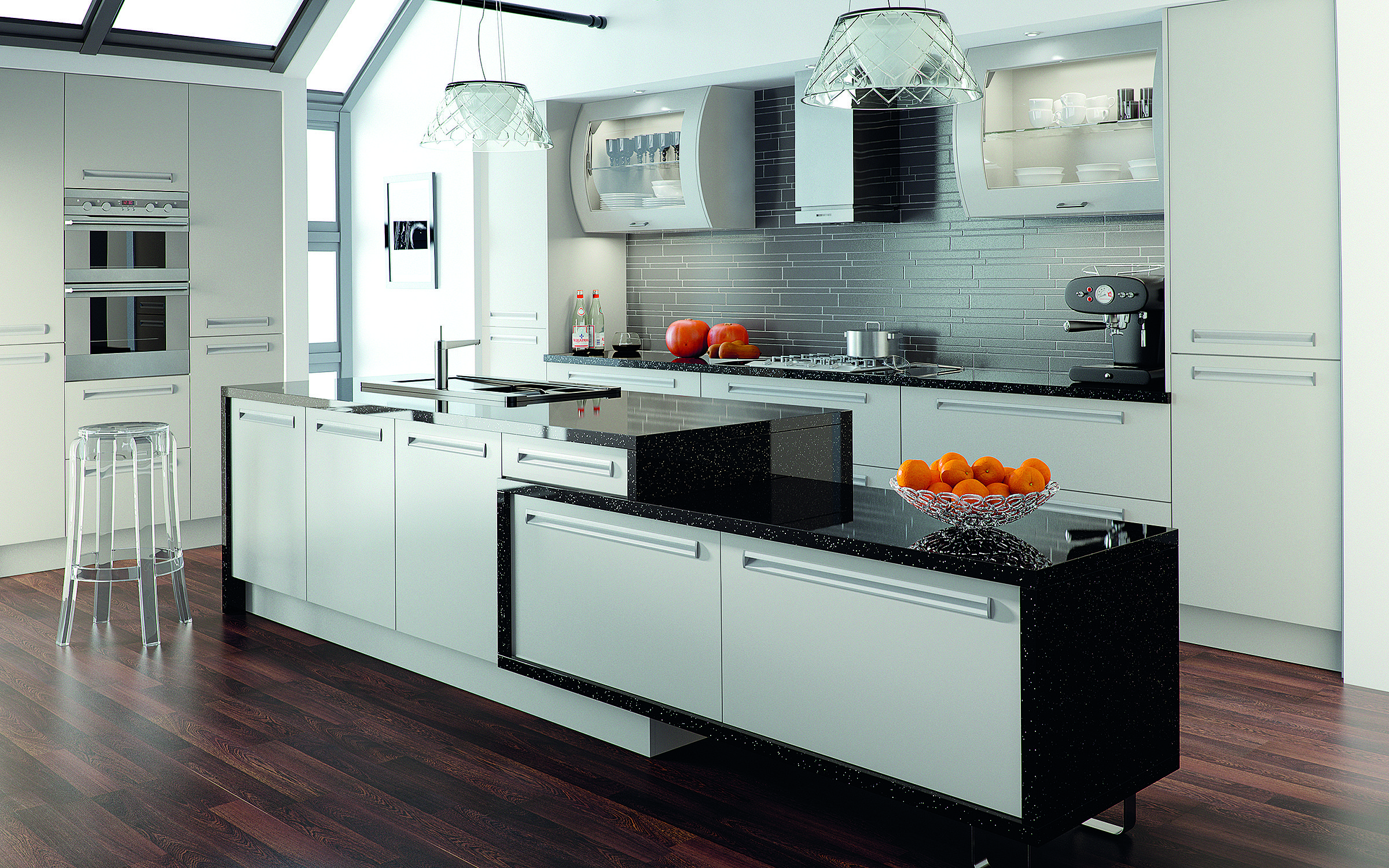 Contemporary open plan kitchen in high gloss finish. www.hacd.co.uk ...
