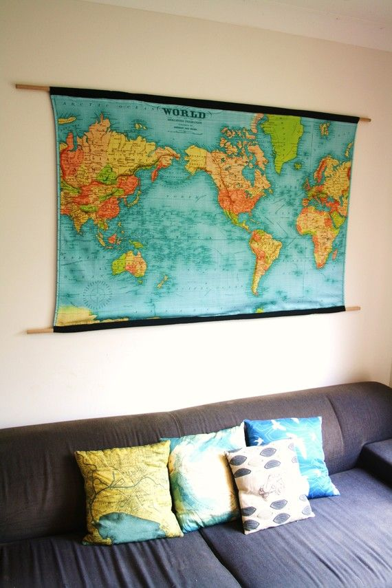 Vintage world map world map wall hanging vintage school chart world map huge wall hanging organic cotton wall art world map 57 inches long x gumiabroncs Image collections