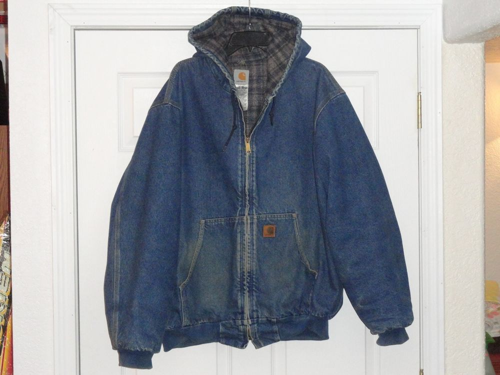 1d9cbe601f66 Vintage Carhartt Blue Denim Blanket Lined Hooded Jean Jacket Trucker Ranch  XL  fashion  clothing  shoes  accessories  unisexclothingshoesaccs ...