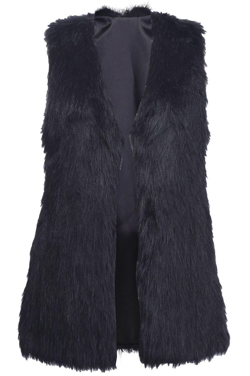 #Romwe Brief Black Faux Fur Gilet