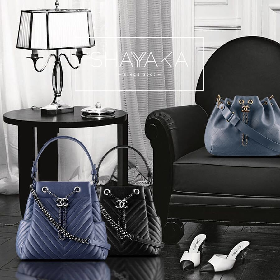 f5fe542d84b5 Chanel Drawstring Bag in Blue Deerskin and Ruthenium Hardware