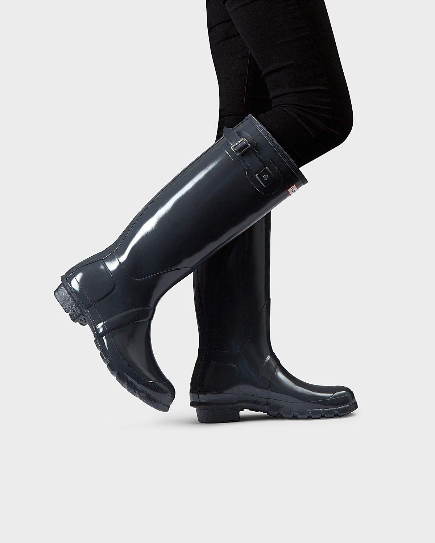 a9e28e576ecc Hunter Women's Original Tall Gloss Rain Boots: Dark Slate - Us 10 ...