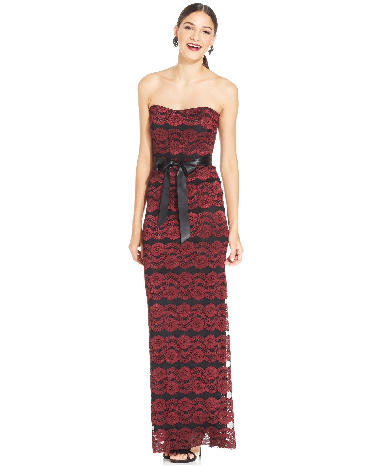 dda16386f Xscape Strapless Floral-Lace Belted Gown - Clearance - Women - Macy s