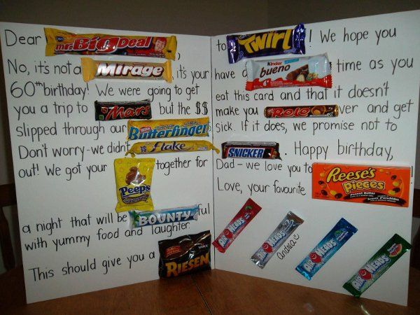 Anniversary cards made with candy bars ~ Candy bar card good for many occasions edible