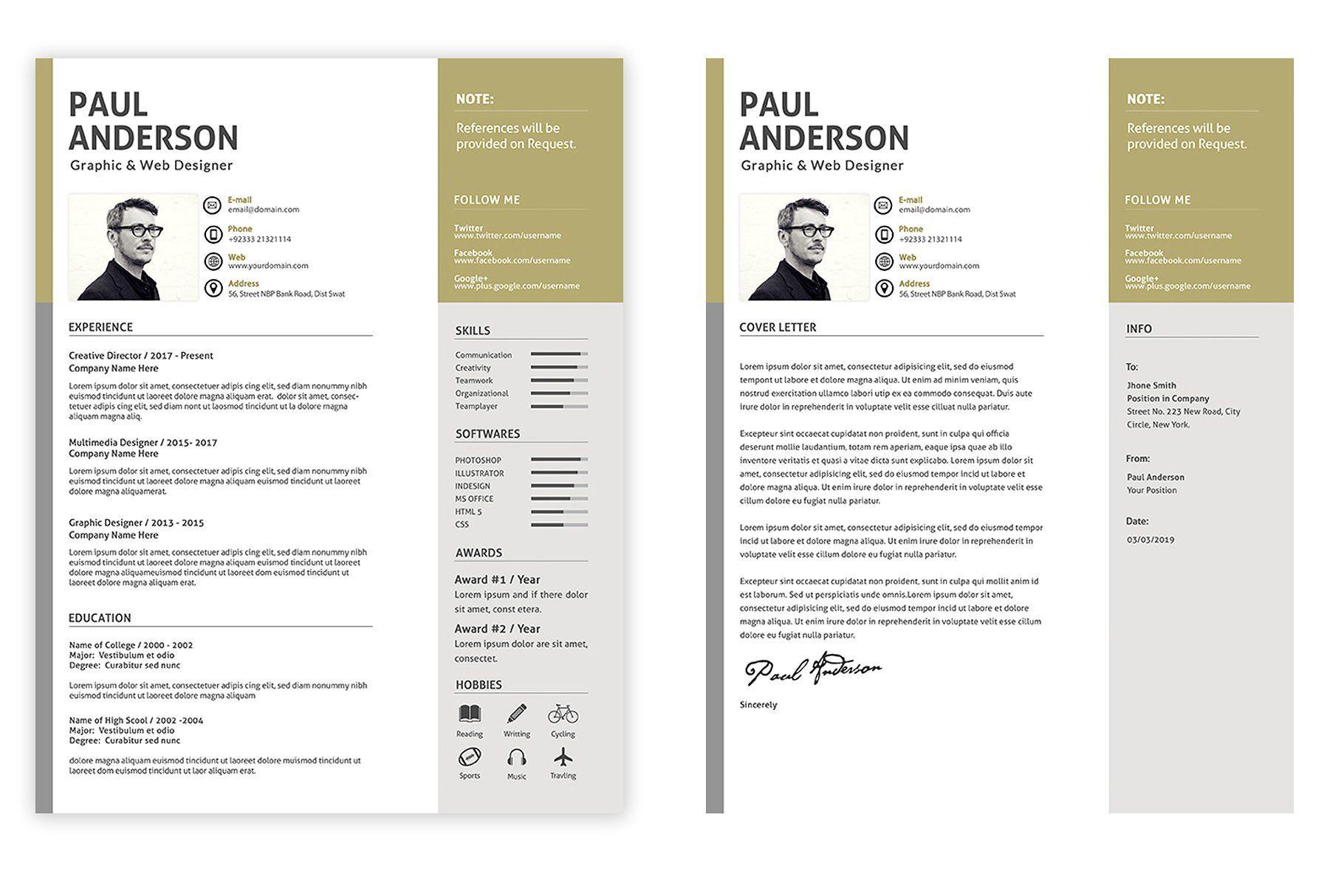 Modern Resume Cv Resume Design Template Creative Resume Templates Resume Cv
