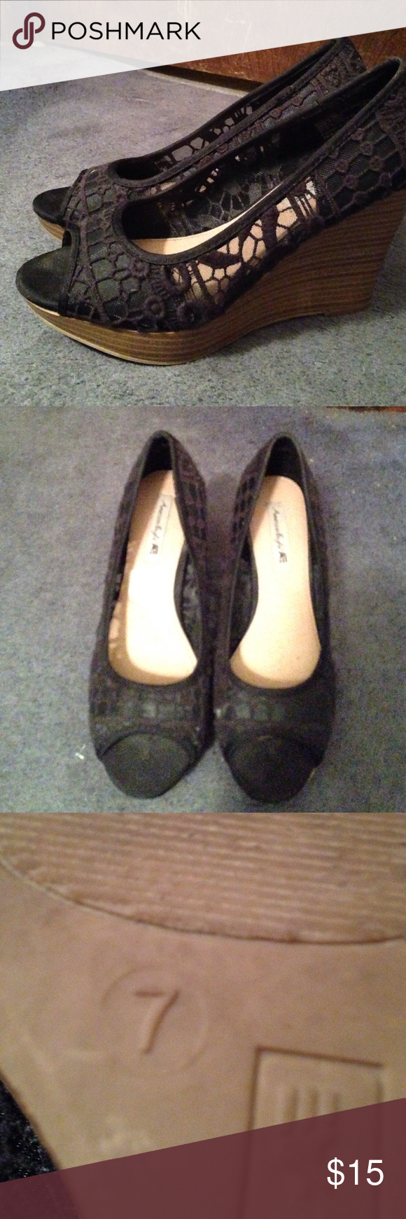 Worn once peep toe wedges Worn to my high school graduation and that's it size seven peep toe wedges. Black lace thanks for looking priced to sell American Eagle by Payless Shoes